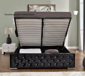 BEST SELLING BRAND= BRAND NEW DOUBLE AND KING CRUSHED VELVET CHESTERFIELD STORAGE BED WITH MATTRESS