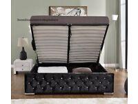 DESIGNER CHESTERFIELD OTTOMAN CRUSHED VELVET BED FRAME SILVER,BLACK & CREAM COLOR