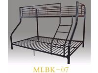 Metal bunk bed double bottom and single top