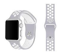 Silicone Gomma Polsiera Laccio Per Apple I-watch Misura 38mm - Bianco Grigio - apple - ebay.it