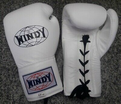 WINDY BOXING GLOVES LACE UP BGL ALL WHITE 12 OZ. SPARRING MUAY THAI  K1 MMA](Windy Boxing Gloves)