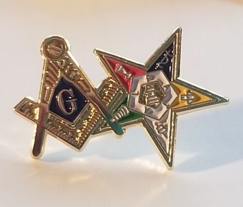 MASONS SQUARE & COMPASS OES STAR LAPEL PIN MASONIC LODGE ORDER OF EASTERN STAR