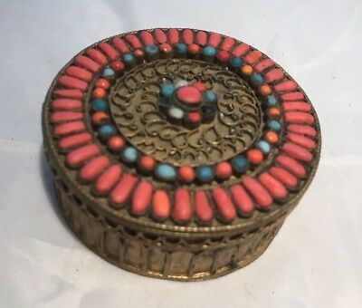 Beautiful Antique Nepalese Coral & Turquoise Inlay Trinket Box Signed