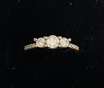 Genuine Pandora Clear Three-Stone Rose Gold Ring - size 48 212749/bh