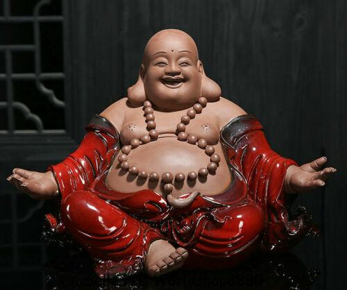 """25.2"""" China Ceramics Porcelain Hand Made Seat Happy Laugh Maitreya Buddha Statue"""