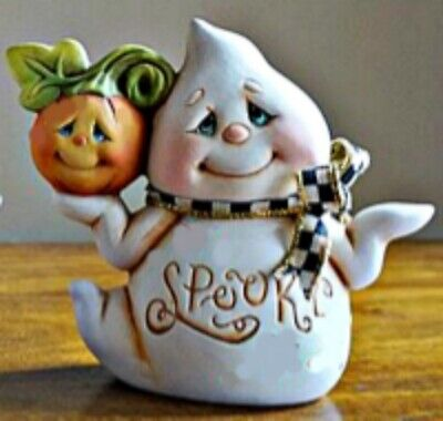 CERAMIC BISQUE GB SMALL 'JACK' THE GHOST HOLDING PUMPKIN~ READY TO PAINT