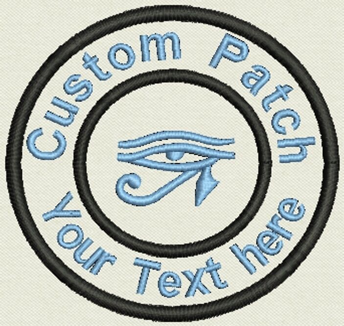 """Horus eye 3.5"""" Circle Patch - Add text or Name - Iron On, or Sew On"""