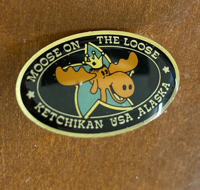 Fun Moose on the Loose Ketchikan USA Alaska Lapel Pin