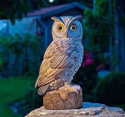 Bewegungsmelder mit Uhu-Ruf und leuchtenden Augen,Gartenaccessoires.UHU * NEU *
