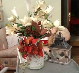 A selection of artificial flowers. These would be great for Christmas Wreathsee