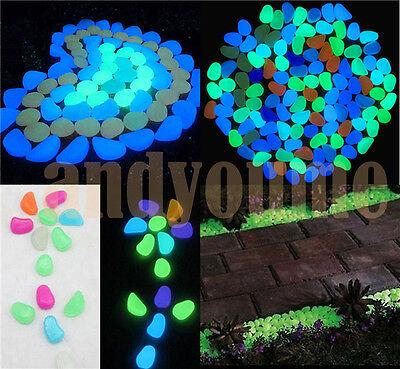 100pcs-Glow-In-The-Dark-Stones-Pebbles-Rock-FISH-TANK-AQUARIUM-Garden-Walkway