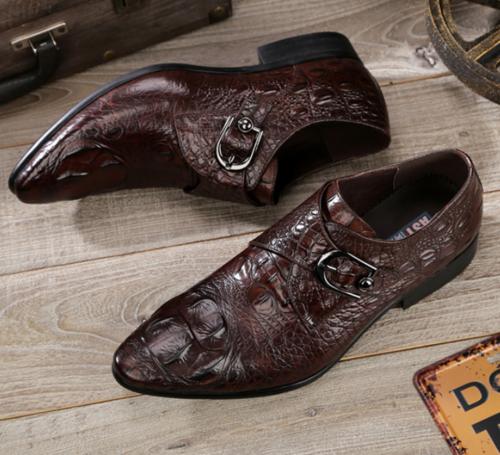 Details about  /Mens Crocodile pattern Work Oxfords Buckle Business Leisure Faux Leather Shoes L