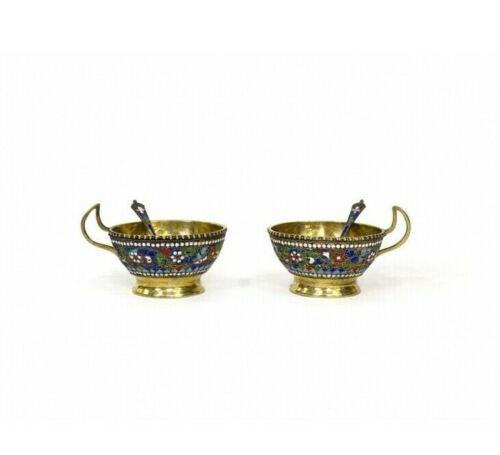 Antique 19th Original Rare Turkey Enamel Gilt Pair cups decorated 270g