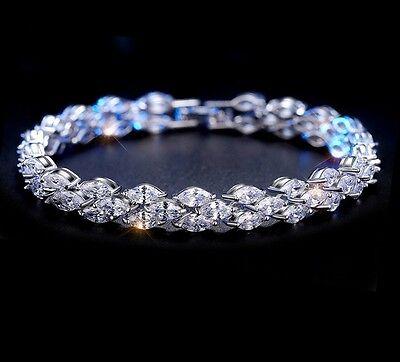 5 ct  Round Man-Made Diamond Tennis Bracelet 14k White Gold Finish