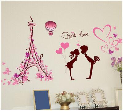 Wandtattoo Paris Liebe Frau Mann Herz Aufkleber Kind rosa pink Schmetterling (Paris Aufkleber)