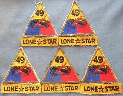 """Lot of 5 post WWII US Army 49th Armored Division patches with """"LONE STAR"""" tabs"""