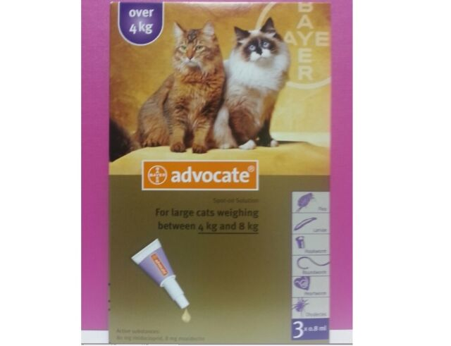 Advocate Cats Over 4kg 3 Pipettes Flea Tick Worms Treatment Exp.12/2017