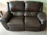 Three and two seater manual recliner Brown leather sofas bot