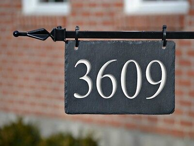 HANGING Lamppost ADDRESS MARKER Lightpost CARVED STONE House Numbers Plaque (Carved Stone Plaque)