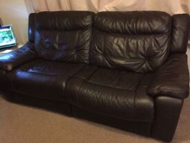 DFS dark brown recliner sofa excellent condition