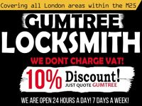 24 Hour London Locksmith Service | No VAT Charges | Best Prices | At Your Property Within 30 Minutes