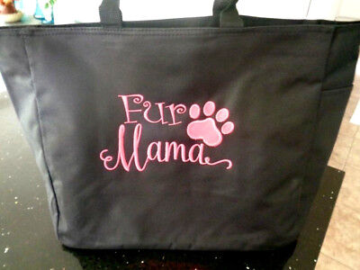 1 Tote Bag FUR MAMA Gift dog cat family pet FRIEND VET KITTY ZIPPER ZIP