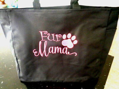 1 Tote Bag FUR MAMA Gift dog cat family pet FRIEND VET KITTY DOGGY ZIPPER ZIP