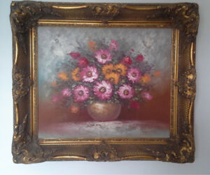 32x28 signed floral painting on canvas