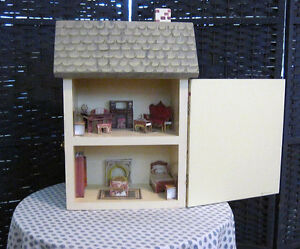 Dollhouse shaped cabinet, hand painted