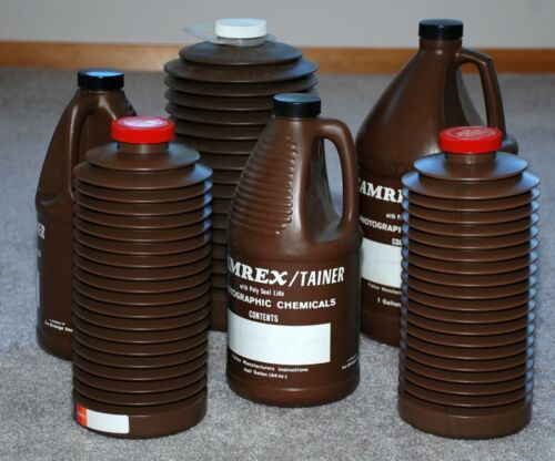 6 VINTAGE CAMREX & FALCON PHOTOGRAPHIC DARKROOM CHEMICAL STORAGE CONTAINRS,