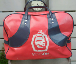 Vintage Red & Blue Molson Canadian Duffle Sports Bag