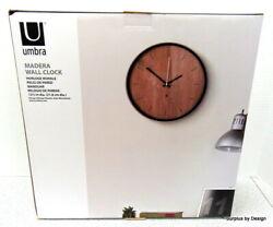 **NEW SEALED** Umbra Madera Wall Clock Black and Walnut