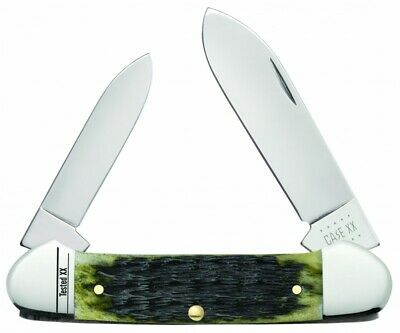 Case xx Canoe Knife Jigged Olive Green Bone 13286 Stainless Pocket Knives