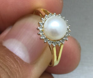 AAAA Pearl &Diamonds ring & 14K gold