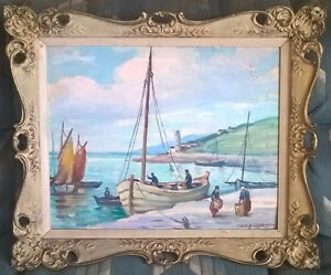 "Vintage Art 1938  ""Boats at St. Tropes"" Southern France"