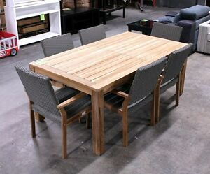 7 Pc Solid Teak Outdoor Dining Set