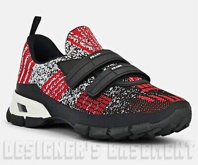 PRADA Men red 10UK 11US knit CROSSECTION double GripStrap Sneakers NIB Auth (Prada Men Uk)