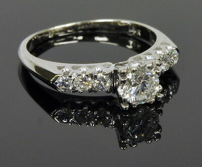 14k White Gold 1/2 Ct Solitaire w/ 1/4 Ctw Diamond Band Engagement Ring 1/2 Ct Ctw Diamond Solitaire