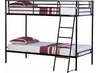 BLACK/SILVER 3ft Metal Bunk Bed & Two Memoryfoam Mattress Fast Delivery