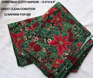"""12 CHRISTMAS CLOTH NAPKINS - 13.5'X14.5"""" -GRT. CLEAN COND."""