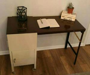 Folding Metal Desk With Built In File Cabinet