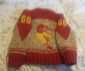 1950's Cowichan Knit Sweater -  Football Player #66 Peterborough Peterborough Area image 2
