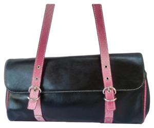 Tommy Hilfiger sac sacoche à main en cuir noir et rose