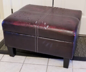 Faux Leather Footstool with Removable Top Storage Bin