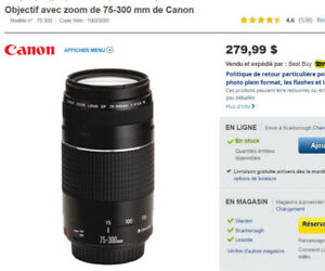 OBJECTIF GRAND ZOOM CANON 75-300MM