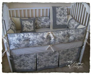 Black Toile Crib Bedding