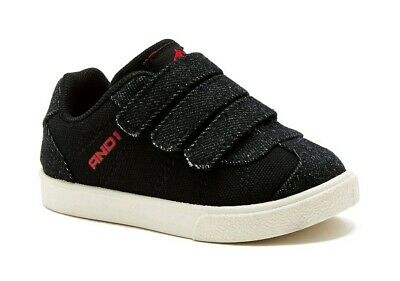 And1 Infant/Toddler Boy's Black Casual Triple Strap Low Top Sneakers Shoes: 3-9 1 Infant Toddlers Black Shoes
