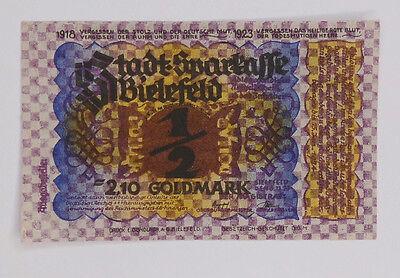 Notgeld Stadt Bielefeld Leinen 2,10 Goldmark = 1/2 Dollar vom 8.11.1923  #GS012