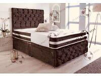 CRUSHED VELVET CHESTERFIELD DIVAN BEDS