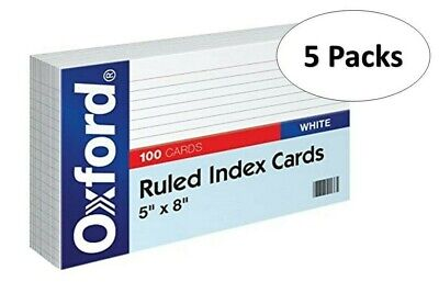 Oxford 51 5 X 8 Ruled Index Cards - White 100pack 5 Pack